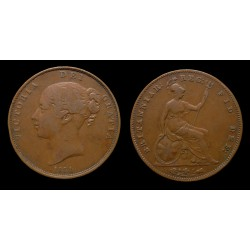 "Royaume-Uni - Victoria - One penny 1854 ""young head"""