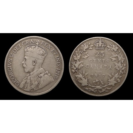 Canada - Georges V - 25 Cents argent 1917