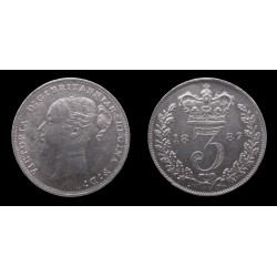 Grande-Bretagne / Great Britain - Victoria - 3 Pence 1887 - Young head