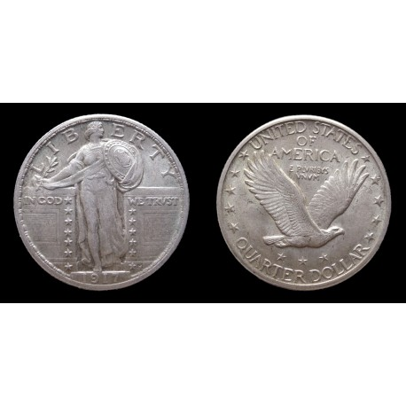 AV - Etats-Unis / USA - 25 Cents argent / Silver Quarter 1917 - type 2